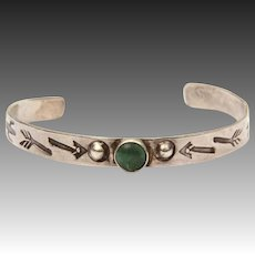 Fred harvey Era Child Cuff Bracelet, Sterling Green Turquoise Navajo with Broken Arrow & Cactus Stampings