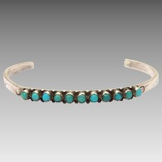 Navajo Childs Bracelet, Fred Harvey Era Sterling Turquoise Cuff, Very Small