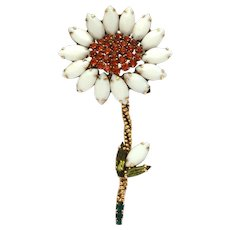 "Weiss Milk Glass White & Orange Rhinestone Flower Pin, Large at 3 7/8"" High"
