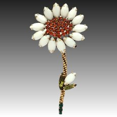 "Weiss Milk Glass White & Orange Rhinestone Flower Pin, Large at 3 7/8"" High"