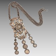 Greek Goddess Athena Costume Coins, Dangle Necklace with Large Pendant
