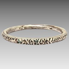 Antique Chinese Export Silver Over Bronze or Copper Bangle Bracelet