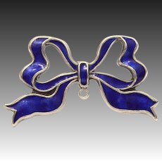 Blue Ribbon Pin for Watch, Locket, Charm - 800 Silver Enamel Pendant Pin