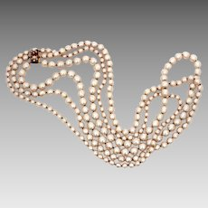 "Huge Miriam Haskell Baroque Pearl Necklace, 3 Strands, 39"" Long"