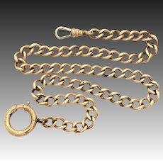 Antique Pocket Watch Chain, Gold Filled Curb Link with Large Clasp and Swivel