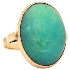 Green Nephrite Jade 14k Yellow Gold Ring