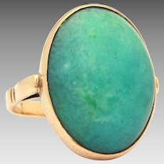 Green Nephrite Jade 14k Yellow Gold Ring