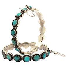 Federico Jimenez Sterling Turquoise Large Pierced Hoop Earrings, Southwest Jewelry