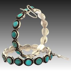 Federico Jimenez Sterling Turquoise Large Pierced Hoop Earrings, Southwest Jewelry