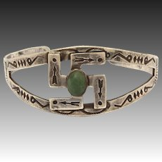 Navajo Whirling Logs Sterling & Green Turquoise Cuff Bracelet, Fred Harvey Era Native American Indian