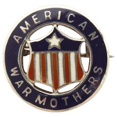 WWII Homefront Pin American War Mothers Sterling Enamel American Flag