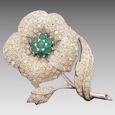Panetta Pave Rhinestone Flower Pin with Emerald Green Crystals