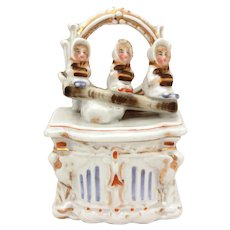 German Staffordshire Fairing Conta and Boehme Trinket Box with Victorian Girls on Commode