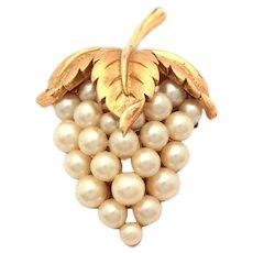 Trifari Costume Pearl Strawberry or Grape Cluster & Leaf Pin