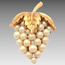 Trifari Costume Pearl Strawberry or Grape Cluster & Leaf Pin