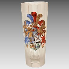 Antique German Enamel Glass Historismus Humpen Drinking Beaker with Armorial Coat of Arms