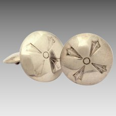 Navajo Sterling Concho Cufflinks, Fred Harvey Era Native American Indian Cuff Links