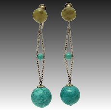 Peking Glass Dangle Earrings, Screw Back Circa 1920
