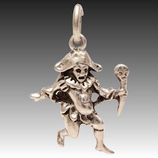 Medieval Humpback Court Jester 1940 Sterling Good Luck Charm