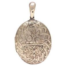 Victorian Sterling Locket, 1882 Antique Silver Pendant