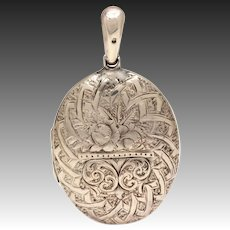 Victorian Sterling Locket, 1882 Antique Silver Pendant