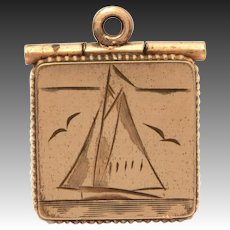 Victorian Gold Filled Watch Fob Locket with Engraved Sailboat