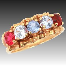 10k Gold Bamboo Mother Ring with 5 Gems