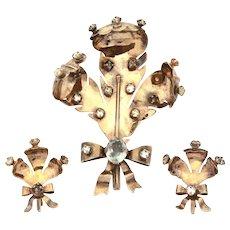 Large Sterling Prince of Wales Plume, Fleur de Lis Pin & Earrings, Clear Rhinestones, Dimensional French Flowers