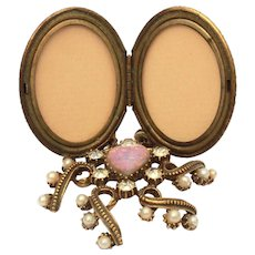 Florenza Locket Picture Frame with Pink Opal Art Glass Heart