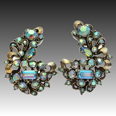 Hollycraft Blue Rhinestone Earrings Antiqued Gold, Aurora Borealis Glass Stones, Signed & Dated 1957