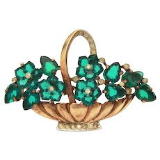 Trifari Basket of Flowers Pin, Green Carved Glass Fruit Salad Brooch from Alfred Philippe