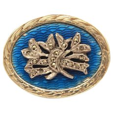 """Antique Sterling Hair Locket Pin, Guilloche Enamel & Marcasites, Press Fit, Tiny 3/4"""""""