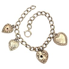 Sterling Puffy Heart Charm Bracelet, 4 Charms, Repousse Links