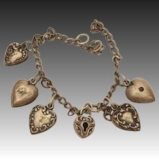 Sterling Puffy Heart Charm Bracelet with 5 Hearts + 1 Heart Lock, Broken Chain