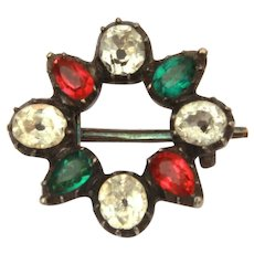 Georgian Black Dot Paste Pin with Clear, Red, & Green Glass Gems, Doll Size