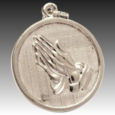 Danecraft Serenity Prayer & Praying Hands Sterling AA Medal Charm