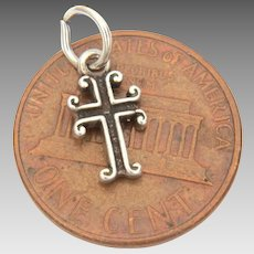 "Miniature Sterling Cross, Doll Size Pendant, 1/2"" Cross Charm"