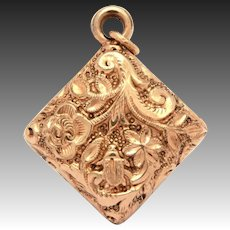 Antique Victorian Watch Fob Charm, Gold Filled Repousse