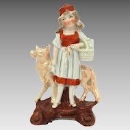 Germany Little Red Riding Hood Ceramic Spill or Bud Vase Figurine