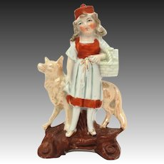 Germany Little Red Riding Hood Ceramic Spill or Bud Vase Figurine