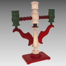 Folk Art Wood Candlestick Painted Green, Red, and White Candelabra