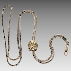Antique Silverplate Ladies Watch Chain with Horseshoe Slide, Muff Guard, Hamilton & Hamilton Swivel