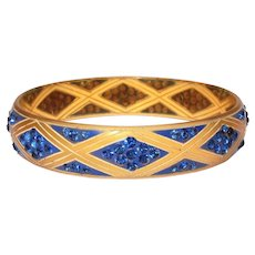 Art Deco Celluloid & Blue Rhinestone Bangle Bracelet