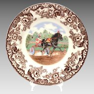 Spode Woodland Horses Standardbred Dinner Plate, Horse Harness Racing, Sulky Race