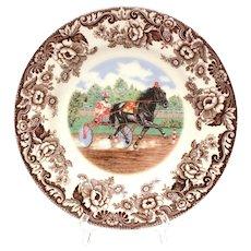 Spode Woodland Horses Standardbred Dinner Plate, Horse Harness Racing, Sulky Race