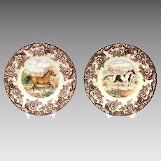 Spode Woodland Horses, American Quarter Horse, Paint Horse, 2 Dinner Plates
