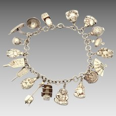 Japanese Sterling Charm Bracelet with 19 Silver Puffy Hollow Charms incl. 7 Lucky Gods, Tansu Chest, Pagoda