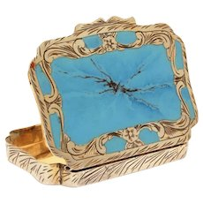 800 Silver Enamel Powder Compact by Coppini Italy, Enameled Faux Turquoise