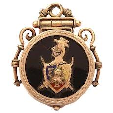 Knights of Pythias Pocket Watch Fob Locket, Antique FCB Fraternal Organization