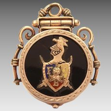 Knights of Pythias Pocket Watch Fob Locket, Antique FCB Fraternal Organization